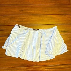 Forever 21 short skirt striped cream blue S NWT